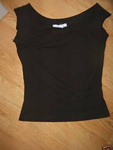 Ladies Black Charlotte Russe Size M Tank T Shirt Stretch Knit Top Side T... - $13.71