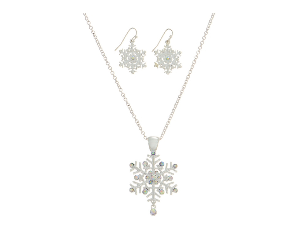 Silvertone  Snowflake Pendant Necklace Set