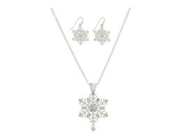 Silvertone  Snowflake Pendant Necklace Set - $13.95