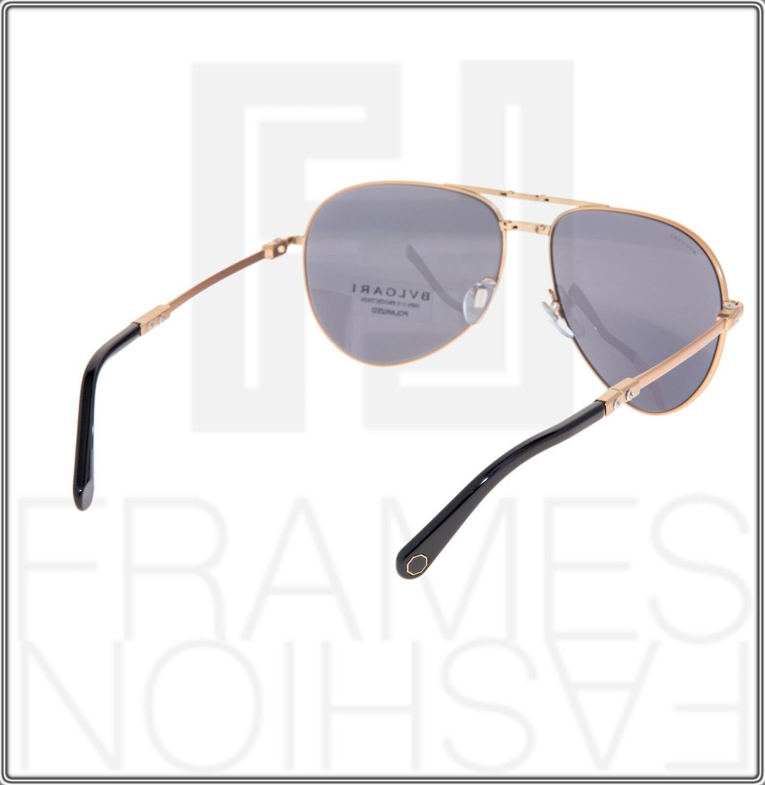 BVLGARI Le Gemme Black Rose Gold 18K Plated POLARIZED Foldable Sunglasses 5034 image 4