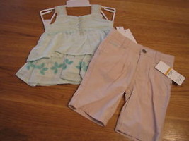 Calvin Klein 24M CK 24 months baby girls shirt pants 2 pc 3602089 lt gre... - $19.30