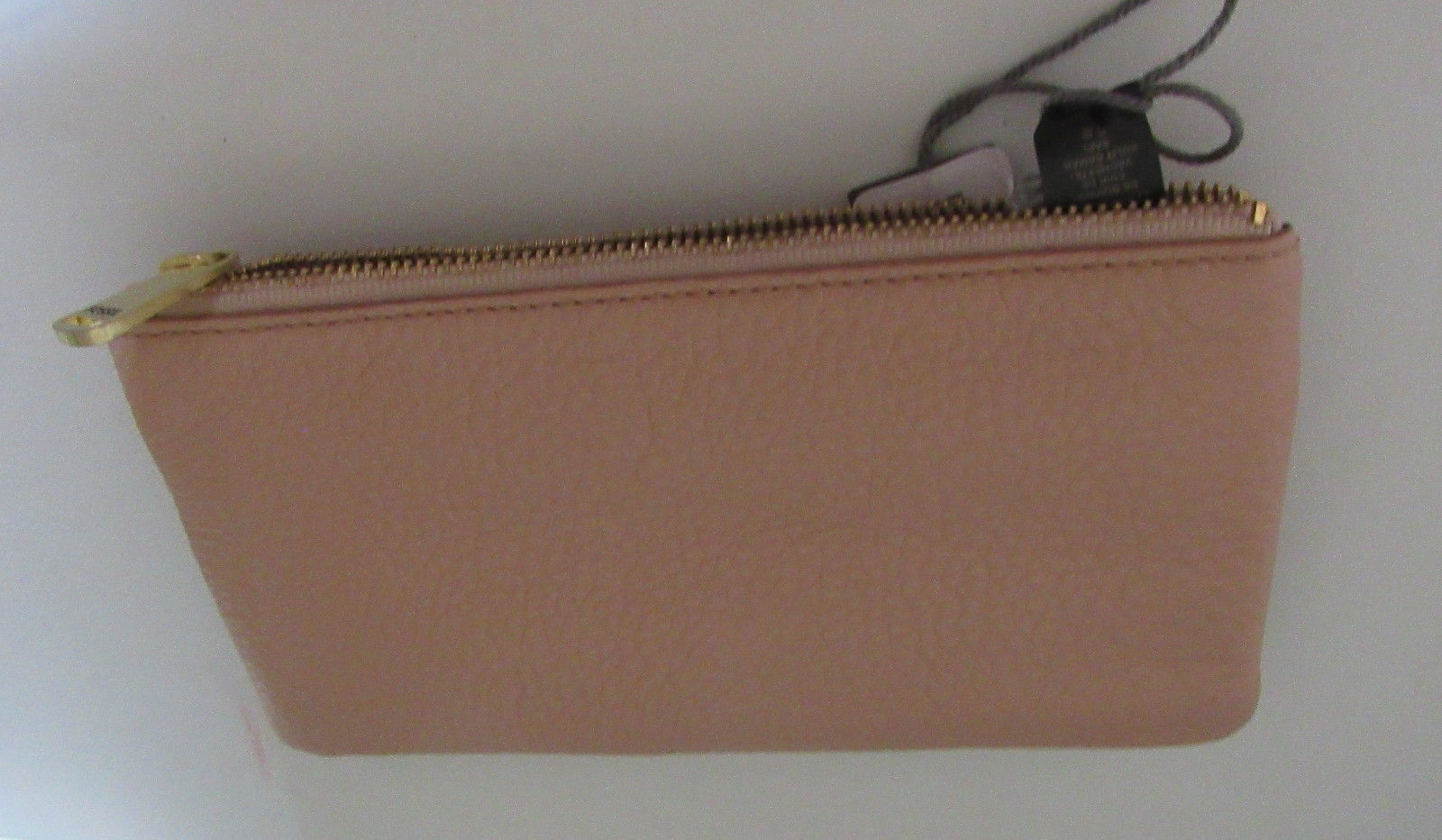 FOSSIL WOMEN'S WALLET TOP ZIP CLOSE CLUTCH GENUINE 100%LEATHER BEIGE NEW WI TAG