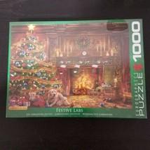 EuroGraphics 1000 Piece Festive Labs Jigsaw Puzzle Christmas Holiday Labrador - $19.99