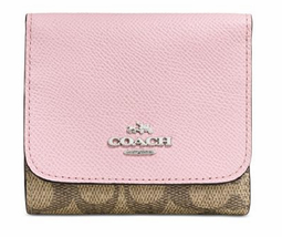 COACH SIGNATURE COATED CANVAS WITH PETAL SMALL WALLET WITH GOLD TRIM - $64.00