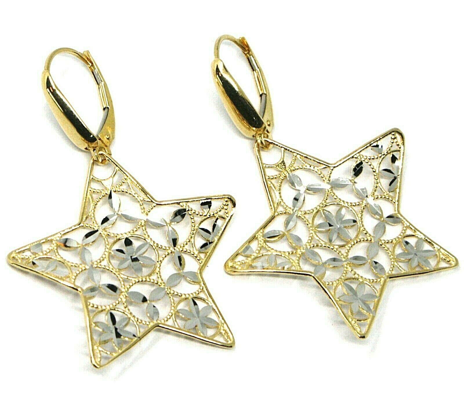18K YELLOW WHITE GOLD PENDANT EARRINGS ONDULATE WORKED STAR, SHINY, STRIPED