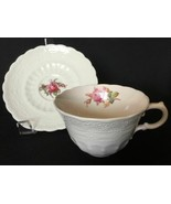 Copeland Spode Jewel Moss Rose Tea Cup Saucer Billingsley Blue Red Marks... - $24.99