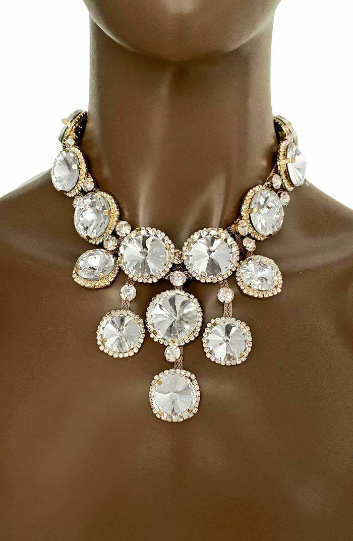 Statement Abend Halskette Ohrringe Schmuck Set Polarlicht Kristalle Braut - $35.84