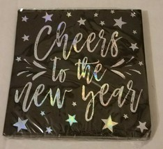 16 count Cheers To The New Year Cocktail Party Beverage Napkins Black & Silver - $1.96