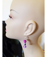 purple skull evil eye dice earrings bead dangles handmade goth halloween... - $5.99