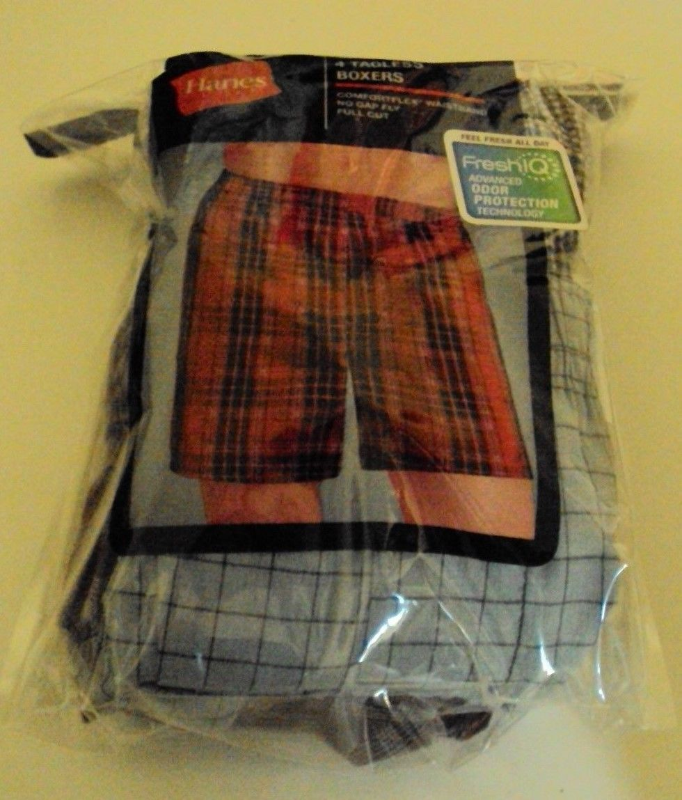 Four Hanes Tagless boxers Cotton Blend Blue Red Gray Tartan Size Large JCBXX4 image 1