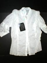 NWT New Womens 14 Designer Cora de Adamich Italy 50 White Top Ruffles Blouse Pom - $479.20