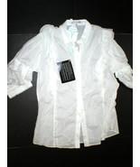NWT New Womens 14 Designer Cora de Adamich Italy 50 White Top Ruffles Bl... - $479.20