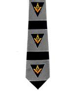 Masonic Triangles Mens Necktie Freemason Mason Square Compass Black Neck... - $15.79