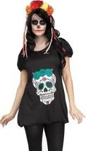 Womens Day of Dead 1 Pc Black Short Sleeve Tunic Halloween Costume-sz M/L - $14.85