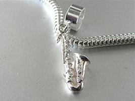 Saxophone 3D Sterling Silver Music Charm Fits European Bracelets - $19.95