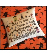 Our Town Halloween cross stitch chart Needle Bling Designs  - $9.00