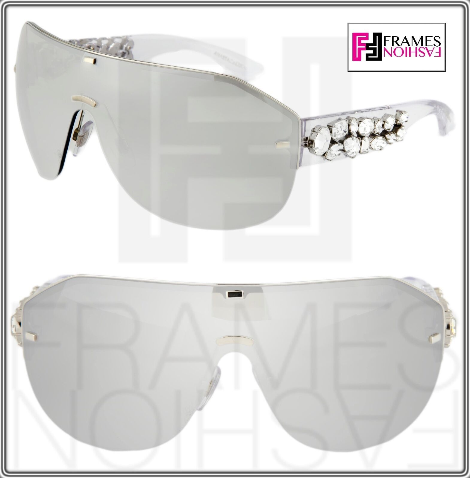 Dolce & Gabbana DG 2150B Clear Silver Wrap Oversized Mirrored Sunglasses Women