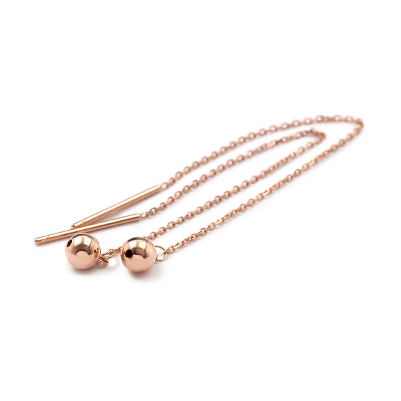Ear Thread Series 18k Rose Gold Mesh Chain Smooth Ball Dangle Earrings
