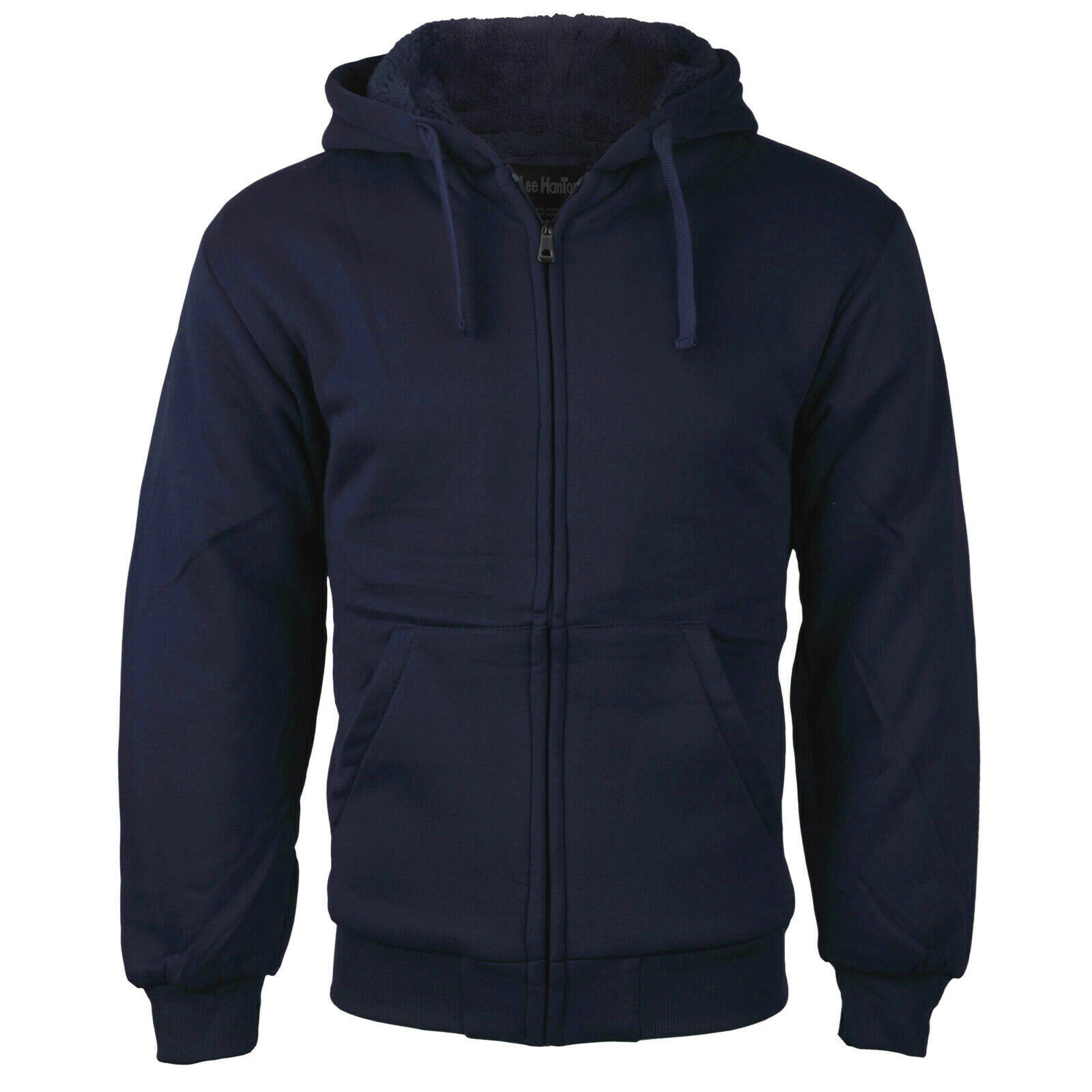 Men's Athletic Soft Sherpa Lined Fleece Zip Up Hoodie Navy Sweater Jacket