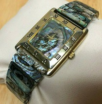 Vintage EKQ Men Lady Abalone Stretch Band Analog Quartz Watch Hours~New ... - $26.59