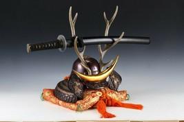 Japanese Beautiful Samurai Helmet -shikanosuke kabuto- with a Replica Blade image 1