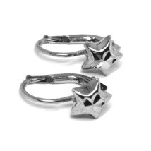 18K WHITE GOLD KIDS EARRINGS, HAMMERED STAR, LEVERBACK CLOSURE, ITALY MADE image 2