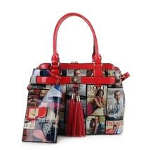 Red Michelle Obama Magazine Handbag Set - Mod MB5014HS - $65.99