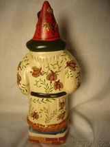 Vaillancourt Folk Art White Brocaded Santa with Red Apple Swag Signed  image 3
