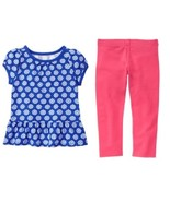 Gymboree 2T Mix N Match Flower Print Peplum Tunic Top Coral Leggings NWT - $10.39