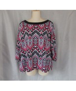 Alfred Dunner top blouse boat neck PL red black chevron 3/4 sleeves - $12.50