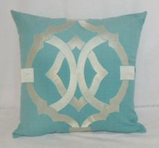 Split P 2806053CVR Pillow Plus Turquoise Margaux Geo Embroidered Cover 16 In image 1