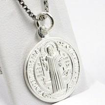 Cadena Veneciano 50 cm, Medalla St. Benedicto, Cruz, Plata 925 , Collar image 2