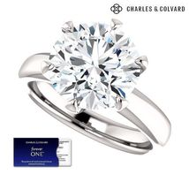 5.00 Carat Moissanite Forever One Solitaire Ring 14K Gold (Charles & Col... - $2,560.00