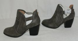 Qupid Maze125 Grey Distress Pu Closed Toe Block Heel Ankle Boots Size 6 image 5