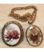 Vintage Rose Locket Pendant Necklace Brooch Pin Gold Tone Set of 2 - $19.78