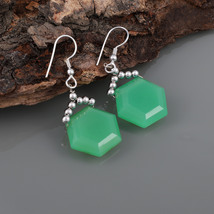 Hexagon Green Chalcedony 925 Sterling Silver Drop Dangle Earrings Gift f... - $24.99
