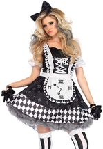 Women's Fairy Tale Cosplay Black and White Alice in Wonderland Deluxe Costume