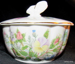 Wild Tudor Covered Trinket Dish Butterfly Finial Made in England by Aynsley - $34.60