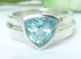 Sterling Blue Topaz Triangle Bezel Set Band Ring Size 7 - $43.00