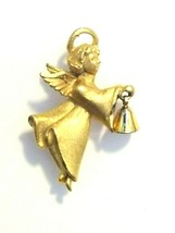 Vintage Signed RR Robyn Rush Guardian Angel Bell Gold Tone Brooch Pin USA - $11.14
