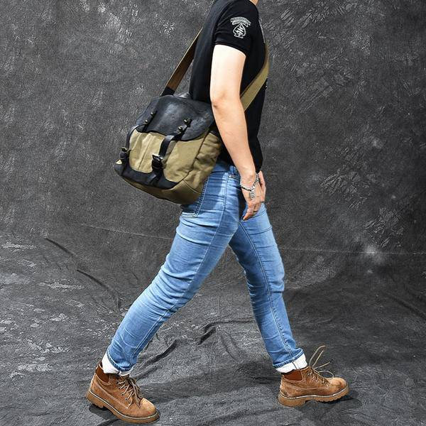 On Sale, Horse Canvas With Leather Messenger Bag, Men Shoulder Bag Satchel Bag image 4