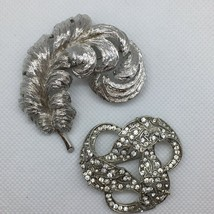 2 Piece Lot MONET Signed Brooch Pin Silver Tone Feather Wreath Rhinestones - $12.95