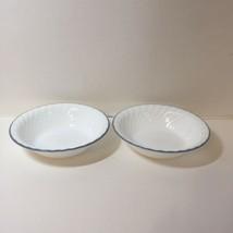 2 Soup Cereal Bowls Corelle Botanique Blue Rim Emboss Swirl - $17.41
