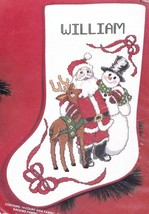 Janlynn Holiday Friends Santa Rudolph Snowman Cross Stitch Stocking Kit 51-77 - $39.95