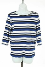 Ralph Lauren Sz 1X Shirt Top Blue Black White Stripes Ribbed - $23.18