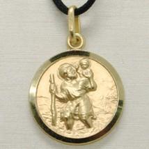 SOLID 18K YELLOW GOLD ST SAINT SANT CRISTOFORO CHRISTOPHER MEDAL DIAMETER 17 MM image 2