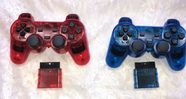 Wireless Shock Game Controller Lot for the Ps2 Transparent Blue & Ruby Red - $29.70