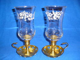 2 Homco 1180 DI Hummingbird Etched/Embossed Peg Votive Candle Holders - $16.50
