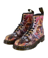 NEW Dr. Doc Martens 1460 CBGB Skull Print Leather Ankle Boots Shoes Size 8 - $147.51