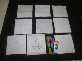 17 Stamped BABY ANIMAL QUILT SQUARES to Embroider with Floss - Approx. 6... - $5.95